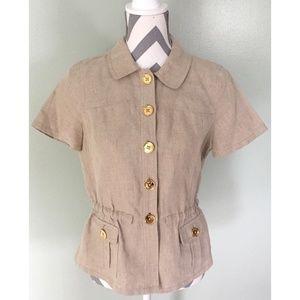 MICHAEL KORS Beige Linen Gold Button Front Shirt